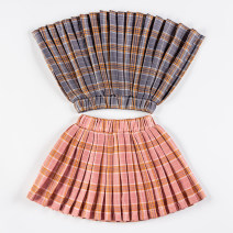 skirt 80cm,90cm,100cm,110cm,120cm,130cm,140cm,150cm Other / other female Cotton 70% hemp 30% No season skirt college lattice Pleats Cotton and hemp Class A