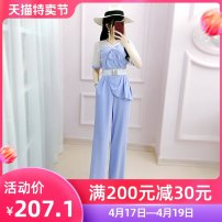 Casual pants Grey blue (belt) S M L XL Summer 2020 trousers Jumpsuit High waist original routine 25-29 years old QB0K09 The fate of July 7 pocket Polyester 100% Exclusive payment of tmall Asymmetry