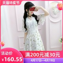 Dress Summer 2020 white S M L XL Short skirt singleton  Short sleeve commute V-neck High waist Broken flowers Socket A-line skirt routine Others 25-29 years old Type X The fate of July 7 lady Three dimensional decorative zipper with pleated stitching QA8Q48 More than 95% polyester fiber