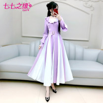 Dress Spring 2021 Purple white S M L XL longuette singleton  Long sleeves commute Lotus leaf collar High waist Solid color Socket Big swing routine Others 25-29 years old Type A The fate of July 7 Retro Three dimensional decorative zipper with pleated and lace up stitching More than 95%