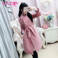woolen coat Winter of 2018 S M L XL Pink polyester 81% (inclusive) - 90% (inclusive) routine Long sleeves commute Frenulum routine tailored collar Solid color Self cultivation Retro QA8W50 The fate of July 7 25-29 years old Three dimensional decorative button with bowknot and drawfold and lace up