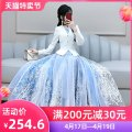 Dress Autumn 2020 Blue and white S M L XL longuette singleton  Long sleeves commute V-neck High waist Solid color Socket Big swing routine Others 25-29 years old Type X The fate of July 7 lady Three dimensional decorative zipper with pleated stitching QB0Q97 91% (inclusive) - 95% (inclusive)