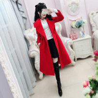 woolen coat Winter of 2018 S M L XL gules polyester 81% (inclusive) - 90% (inclusive) Medium length Long sleeves commute other routine tailored collar Solid color Self cultivation Retro QA8W39 The fate of July 7 25-29 years old Three dimensional decorative asymmetric button with lace up pocket