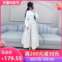 Dress Spring 2020 White (without belt) S M L XL longuette singleton  Long sleeves commute Crew neck High waist Dot Socket Big swing routine Others 25-29 years old Type X The fate of July 7 Simplicity Three dimensional decorative zipper with bow and pleat stitching QB0Q27 polyester fiber