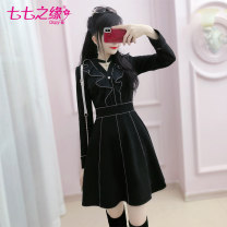 Dress Winter of 2019 black S M L XL Short skirt singleton  Long sleeves commute V-neck High waist Solid color Socket A-line skirt routine Others 25-29 years old Type X The fate of July 7 31% (inclusive) - 50% (inclusive) polyester fiber Exclusive payment of tmall