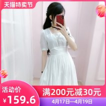 Dress Summer 2020 white S M L XL Short skirt singleton  Short sleeve commute V-neck High waist Solid color Socket A-line skirt routine Others 25-29 years old Type X The fate of July 7 Korean version Three dimensional decorative zipper with pleated stitching QA9Q66 30% and below polyester fiber