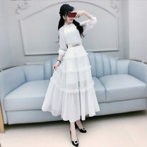 Dress Autumn 2020 White (belt) S M L XL longuette singleton  Long sleeves commute stand collar High waist Solid color Socket Big swing routine Others 25-29 years old Type X The fate of July 7 lady Three dimensional decorative zipper with pleated Auricularia auricula stitching QB0Q18 More than 95%
