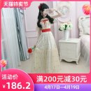 Dress Summer of 2019 Beige S M L XL longuette singleton  Short sleeve commute V-neck High waist other Socket Big swing routine Others 25-29 years old Type X The fate of July 7 Retro Bowknot, lotus leaf edge, pleat, Auricularia auricula, lace up, three-dimensional decoration, lace up, wave zipper