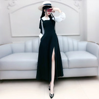 Dress Autumn 2020 black S M L XL longuette singleton  Long sleeves commute V-neck High waist Solid color Socket A-line skirt routine Others 25-29 years old Type X The fate of July 7 Korean version Three dimensional decorative bandage zipper with bowknot and drawfold QB0Q125 polyester fiber