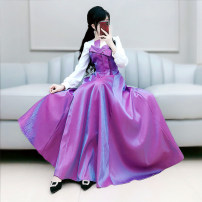Dress Autumn 2020 Rose purple S M L XL longuette singleton  Long sleeves commute V-neck High waist Solid color Socket Big swing routine Others 25-29 years old Type X The fate of July 7 lady Three dimensional decorative zipper with bow and pleat stitching QB0Q123 More than 95% polyester fiber