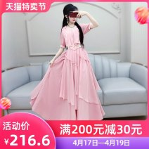 Dress Summer 2020 Pink (belt) S M L XL longuette singleton  Short sleeve commute V-neck High waist Solid color Socket Irregular skirt routine Others 25-29 years old Type X The fate of July 7 literature Three dimensional decorative asymmetric zipper with pleated stitching More than 95% polyester fiber