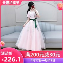 Dress Summer 2020 Pink S M L XL longuette singleton  Short sleeve commute V-neck High waist Solid color Socket Big swing routine Others 25-29 years old Type X The fate of July 7 Retro Three dimensional decorative strap zipper QB0Q74 More than 95% polyester fiber Polyester 100%