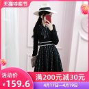 Dress Autumn 2020 black S M L Short skirt singleton  Long sleeves commute V-neck High waist Dot Socket A-line skirt routine Others 25-29 years old Type X The fate of July 7 lady Three dimensional decoration with bow, pleat and tie QB0Q120 30% and below polyester fiber Exclusive payment of tmall