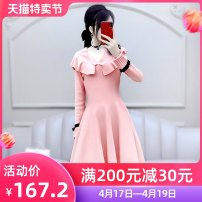 Dress Winter 2020 Pink S M L Short skirt singleton  Long sleeves commute Lotus leaf collar High waist Solid color Socket A-line skirt routine Others 25-29 years old Type X The fate of July 7 lady Three dimensional decoration with ruffle and stitching QB0Q118 30% and below polyester fiber