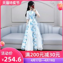 Dress Summer 2020 Blue and white (without belt) S M L XL longuette singleton  elbow sleeve commute Crew neck High waist Broken flowers Socket Big swing routine Others 25-29 years old Type X The fate of July 7 Korean version Three dimensional decorative mesh zipper with ruffle and fold stitching