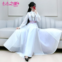 Dress Spring 2021 white S M L XL longuette singleton  Long sleeves commute Polo collar High waist Solid color Socket Big swing routine Others 25-29 years old Type A The fate of July 7 Retro Three dimensional decorative zipper with pleated stitching QB0Q145 More than 95% polyester fiber Polyester 100%