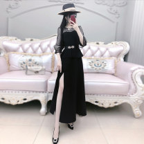 Dress Winter of 2019 Black (including belt) S M L XL longuette singleton  Long sleeves commute Crew neck middle-waisted Solid color Socket A-line skirt routine Others 25-29 years old Type X The fate of July 7 More than 95% polyester fiber Polyester 95% polyurethane elastic fiber (spandex) 5%