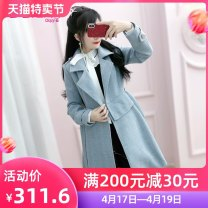 woolen coat Winter of 2019 S M L XL blue polyester 91% (including) - 95% (excluding) Medium length Long sleeves commute double-breasted routine tailored collar Solid color Self cultivation QA9W48 The fate of July 7 25-29 years old Pleated pocket with lace up and three-dimensional decorative buttons
