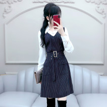 Dress Autumn 2020 Dark Navy S M L XL Short skirt singleton  Long sleeves commute V-neck High waist stripe Socket A-line skirt routine 25-29 years old Type X The fate of July 7 Britain Three dimensional decorative zipper with pleated stitching QB0Q102 81% (inclusive) - 90% (inclusive) polyester fiber