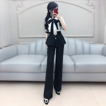 Professional pants suit black and white S M L XL Summer 2020 shirt elbow sleeve trousers The fate of July 7 25-35 years old Polyester 92% polyurethane elastic fiber (spandex) 8% Exclusive payment of tmall