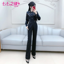 Casual pants black S M L XL Spring 2021 trousers Flared trousers High waist commute routine 25-29 years old QB0K20 The fate of July 7 Ol style pocket Polyester 100% Exclusive payment of tmall