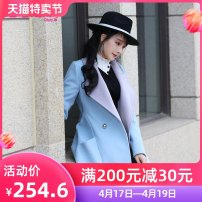 woolen coat Winter of 2018 S M L XL blue polyester 81% (inclusive) - 90% (inclusive) routine Long sleeves commute double-breasted routine tailored collar Solid color Straight cylinder Retro QA8W66 The fate of July 7 25-29 years old Solid color Pure e-commerce (online only)