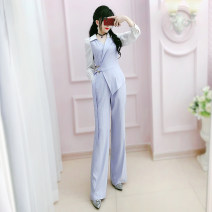 Casual pants lavender S M L XL Autumn 2020 trousers Jumpsuit High waist commute routine 25-29 years old The fate of July 7 Simplicity pocket Polyester 100% Exclusive payment of tmall