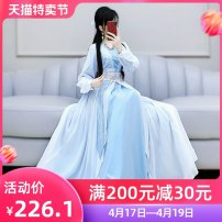 Dress Autumn 2020 blue and white color S M L XL longuette singleton  Long sleeves commute V-neck High waist Solid color Socket Big swing routine Others 25-29 years old Type X The fate of July 7 Retro More than 95% polyester fiber Polyester 100% Exclusive payment of tmall