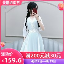 Dress Summer 2020 White green S M L XL Short skirt singleton  elbow sleeve commute V-neck High waist Solid color Socket A-line skirt pagoda sleeve Others 25-29 years old Type X The fate of July 7 Three dimensional decorative zipper with pleated and lace up stitching QB0Q64 More than 95%