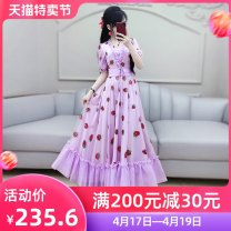 Dress Summer 2020 violet S M L XL longuette singleton  Short sleeve commute V-neck High waist other Socket Big swing bishop sleeve Others 25-29 years old Type X The fate of July 7 lady Bow and lotus leaf edge pleating fold auricular lace splicing three-dimensional decorative strap zipper QB0Q77
