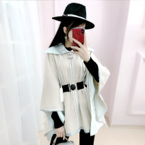 woolen coat Winter 2020 S M L XL Beige (belt) Viscose fiber 31% (inclusive) - 50% (inclusive) routine Sleeveless commute other V-neck Solid color Cape type Simplicity QB0W31 The fate of July 7 25-29 years old Three dimensional decoration with pleated stitching Exclusive payment of tmall