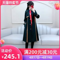 Windbreaker Autumn 2020 S M L XL black Long sleeves routine Medium length commute Single breasted tailored collar routine Solid color Self cultivation Britain The fate of July 7 QB0W11 25-29 years old Pleated pocket with lace up and three-dimensional decorative buttons polyester fiber