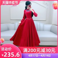 Dress Autumn 2020 gules S M L XL longuette singleton  Long sleeves commute stand collar High waist Solid color Socket Big swing routine Others 25-29 years old Type X The fate of July 7 Retro Three dimensional decorative zipper with pleated stitching QB0Q127 81% (inclusive) - 90% (inclusive)