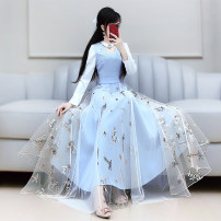 Dress Autumn 2020 blue S M L XL longuette singleton  Long sleeves commute V-neck High waist Solid color Socket Big swing routine Others 25-29 years old Type X The fate of July 7 Retro Three dimensional decorative zipper with pleated stitching QB0Q114 More than 95% polyester fiber Polyester 100%