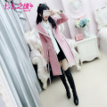 woolen coat Winter of 2018 S M L XL Pink polyester 95% and above Medium length Long sleeves commute Frenulum routine tailored collar Solid color Self cultivation Retro QA8W62 The fate of July 7 25-29 years old Three dimensional decorative button with bow pleated pocket and lace up Solid color