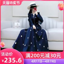 Dress Autumn 2020 Navy Blue S M L XL longuette singleton  Long sleeves commute V-neck High waist Dot zipper A-line skirt routine Others 25-29 years old Type X The fate of July 7 Simplicity 91% (inclusive) - 95% (inclusive) polyester fiber Polyester 92% polyurethane elastic fiber (spandex) 8%