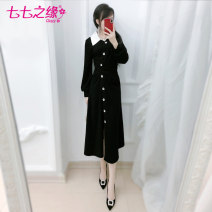 Dress Winter of 2019 black S M L XL longuette singleton  Long sleeves commute other High waist Solid color Single breasted A-line skirt routine Others 25-29 years old Type X The fate of July 7 Retro Three dimensional decorative button with pleated stitching QA9Q197 91% (inclusive) - 95% (inclusive)