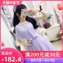 Dress Summer of 2018 violet S M L XL Mid length dress Two piece set Sleeveless commute Crew neck High waist Solid color Socket Irregular skirt straps 25-29 years old Type X The fate of July 7 Retro More than 95% polyester fiber Polyester 100% Pure e-commerce (online only)