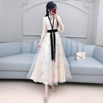 Dress Autumn 2020 Beige S M L XL longuette singleton  Long sleeves commute V-neck High waist other Socket Big swing routine Others 25-29 years old Type X The fate of July 7 Retro More than 95% polyester fiber Polyester 100% Exclusive payment of tmall