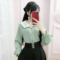 shirt green S M L XL Spring 2021 polyester fiber 96% and above Long sleeves Versatile Regular V-neck Single row multi button routine Solid color 25-29 years old Straight cylinder The fate of July 7 QB0S59 Three dimensional decorative button with stitching and pleating Polyester 100%