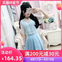Dress Summer of 2018 blue and white color S M L XL Middle-skirt Fake two pieces Short sleeve commute Crew neck High waist Solid color Socket A-line skirt routine straps 25-29 years old Type X The fate of July 7 Retro More than 95% polyester fiber Polyester 100% Pure e-commerce (online only)