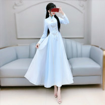 Dress Autumn 2020 blue and white color S M L XL longuette singleton  Long sleeves commute stand collar High waist Solid color Socket Big swing routine Others 25-29 years old Type X The fate of July 7 Retro Three dimensional decorative zipper with pleated embroidery and pleated stitching QB0Q108