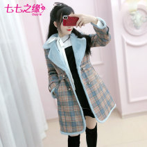 woolen coat Winter of 2019 S M L XL lattice polyester 95% and above Medium length Long sleeves commute double-breasted routine tailored collar lattice Self cultivation The fate of July 7 25-29 years old Three dimensional decorative buttons with pleated pockets Solid color Exclusive payment of tmall