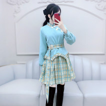 Dress Winter 2020 Color matching S M L XL Short skirt singleton  Long sleeves commute stand collar High waist Solid color Socket Irregular skirt routine Others 25-29 years old Type X The fate of July 7 Retro 81% (inclusive) - 90% (inclusive) polyester fiber Exclusive payment of tmall