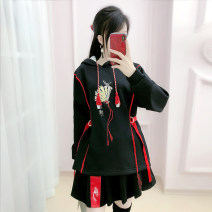 Sweater / sweater Winter 2020 black S M L XL Long sleeves routine Socket singleton  routine Hood easy commute routine Solid color 25-29 years old 51% (inclusive) - 70% (inclusive) The fate of July 7 Retro nylon QB0S60 Three dimensional decoration with fold stitching Exclusive payment of tmall