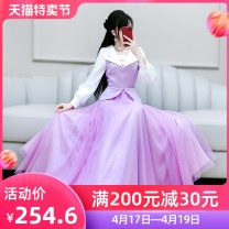 Dress Spring 2021 violet S M L XL longuette singleton  Long sleeves commute V-neck High waist Solid color Socket Big swing routine Others 25-29 years old Type X The fate of July 7 Retro More than 95% polyester fiber Polyester 98% polyurethane elastic fiber (spandex) 2% Exclusive payment of tmall