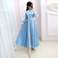 Dress Winter 2020 blue S M L XL longuette singleton  Long sleeves commute V-neck High waist Solid color Socket Big swing routine Others 25-29 years old Type X The fate of July 7 Retro Three dimensional decorative zipper with bow and pleat and lace up QB0Q157 81% (inclusive) - 90% (inclusive)