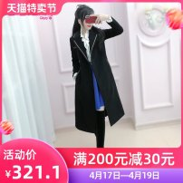 woolen coat Winter of 2019 S M L XL black polyester 81% (inclusive) - 90% (inclusive) Medium length Long sleeves commute double-breasted routine tailored collar Solid color Self cultivation The fate of July 7 25-29 years old Three dimensional decorative buttons with pleated pockets Solid color