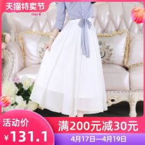 skirt Summer 2017 S M L XL white Short skirt Versatile High waist Fairy Dress Solid color Type A 25-29 years old QA7Q33 More than 95% other The fate of July 7 polyester fiber Three dimensional decorative zipper stitching with bow tie Polyester 100% Pure e-commerce (online only)