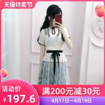 Dress Summer 2020 Off white S M L XL Short skirt singleton  Short sleeve commute stand collar High waist Solid color Socket A-line skirt routine 25-29 years old Type X The fate of July 7 Three dimensional decorative lace mesh zipper More than 95% polyester fiber Polyester 100%